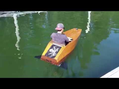 Plywood mini boat electric hydro fins