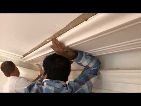 Installing a Large  Hopkin's Victorian cornice and matching in with existing