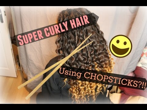Super curly hair using actual CHOPSTICKS?! | Tutorial