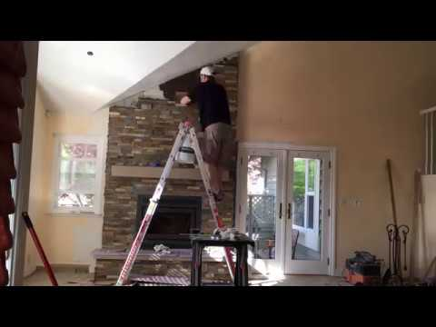 DIY Fireplace Makeover with Custom Mantel, Hearth Stone & Rock Panels