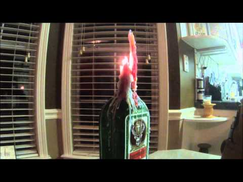 Candle Drip Project - Dripping Colored Candles onto Jagermeister Bottle