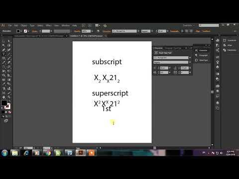 Adobe illustrator SUPERSCRIPT/SUBSCRIPT