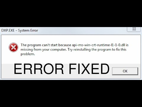 Fix The program can't start because api-ms-win-crt-runtime-l1-1-0.dll is missing