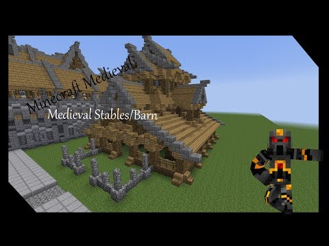 Minecraft Medieval Stables/Barn Tutorial- How to Build a Medieval Stables/Barn