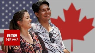 Meet the couple fleeing Trump for Canada - BBC News