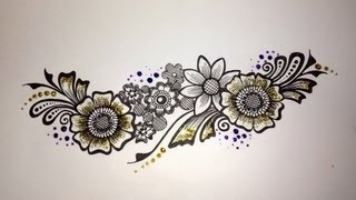Easy Mehndi Patterns On Paper : Arabic floral henna easy mehndi design on paper how to draw