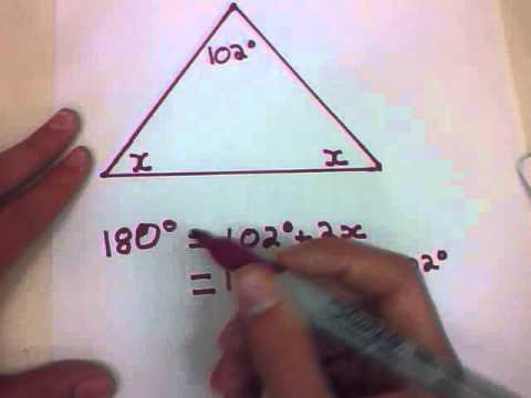 Geometry Lesson 9c Calculating 2 missing angles in an Isosceles triangle  Anders