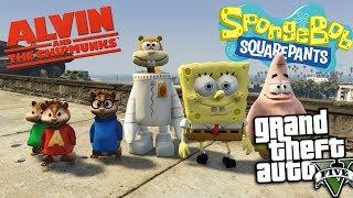 GTA 5 Mods - SPONGEBOB VS ALVIN AND THE CHIPMUNKS MOD (GTA 5 Mods Gameplay)