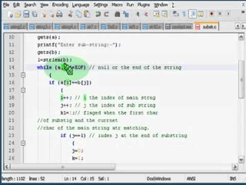 Finding subString in a String   C Program