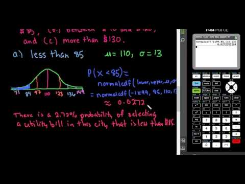 Probabilities in a Normal Distribution - TI-84