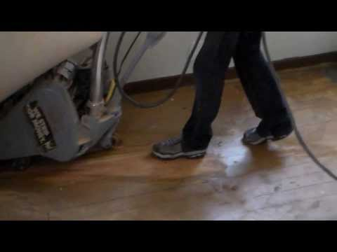 how to sand paint off an old floor with a drum sander