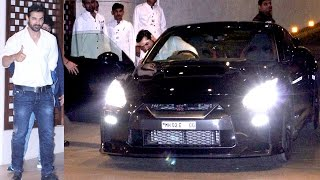 John Abraham Driving His Sports Car 2017 Nissan GTR Leaving A Party