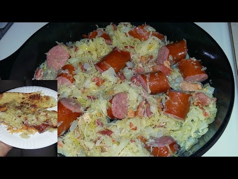 Cast Iron Cooking Kielbasa And Sauerkraut Recipe