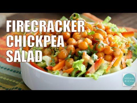Firecracker Chickpea Salad Bowl with Peanut Dressing | VEGAN RICHA RECIPES