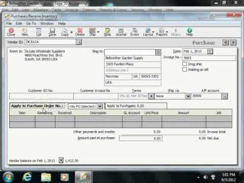 Sage 50 Tutorial The Purchases/Receive Inventory Window Sage Training Lesson 7.4