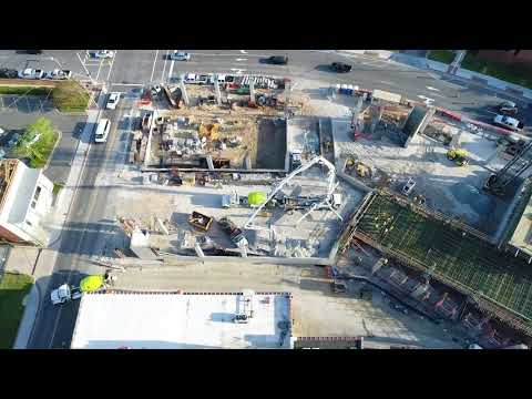 Drone Footage: Durham Parking Garage Construction 1 of 2 April 2018