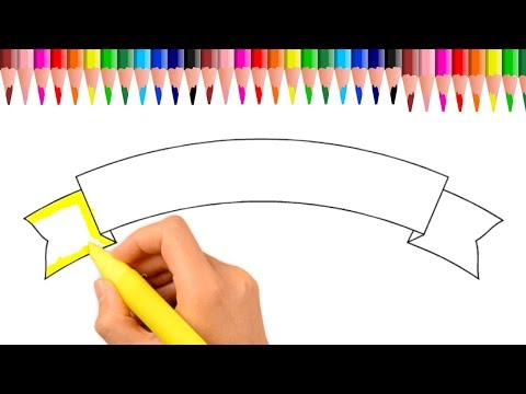 How To Draw A Ribbon Banner step by step | Learn Coloring |  How To Write Your Name On Ribbon Banner