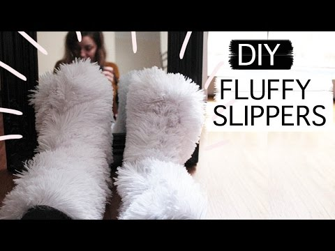 DIY NO SEW fluffy slippers [Cozy days must have]