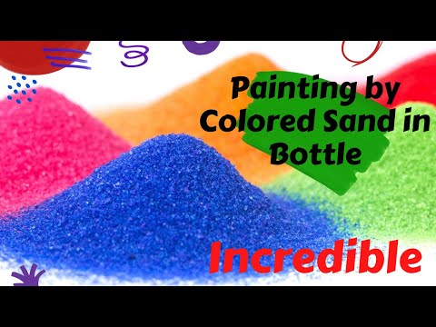 Painting by colored sand in a glass bottle.. Awsome!