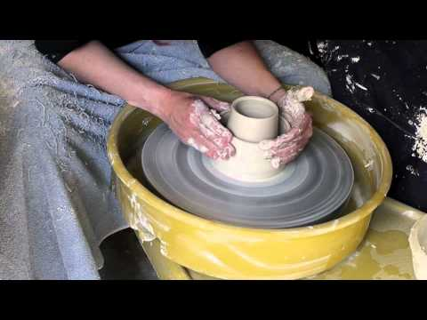 Throwing a double-walled cup on the wheel