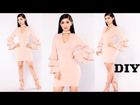 DIY// How To Make A Tiered Ruffle Sleeve Dress With Choker Neck.(fashion nova inspired