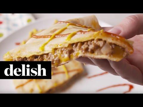 How To Make A Cheeseburger Quesadilla | Delish