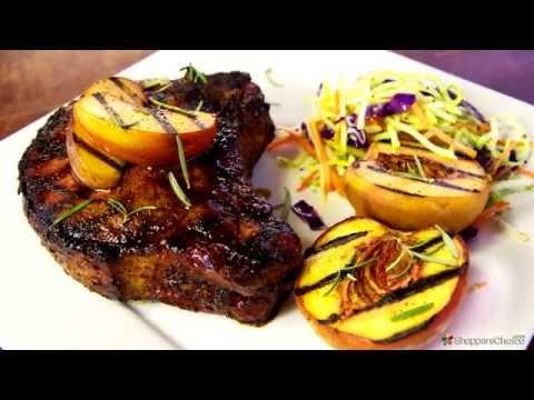 Grilled Pork Chops Recipe with Bourbon Peach Glaze on the Weber Genesis Premium Gas Grill