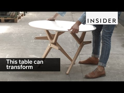 This table tranforms from a coffee table to a dining table