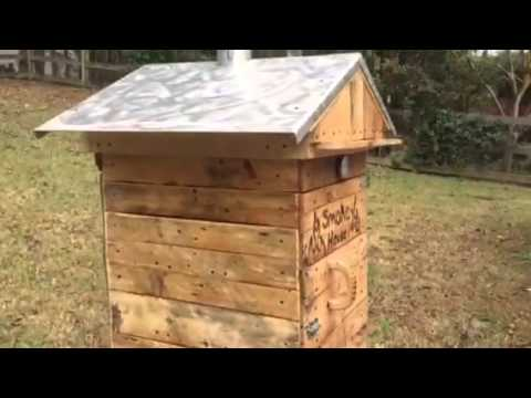 Home made wood meat smoker made from pallets
