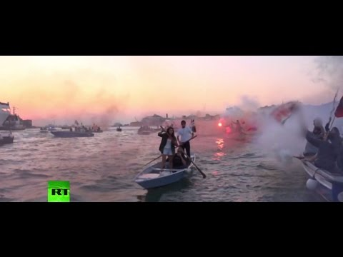 'Get big boats out of Venice!': Angry locals block cruise ships from docking in sinking city