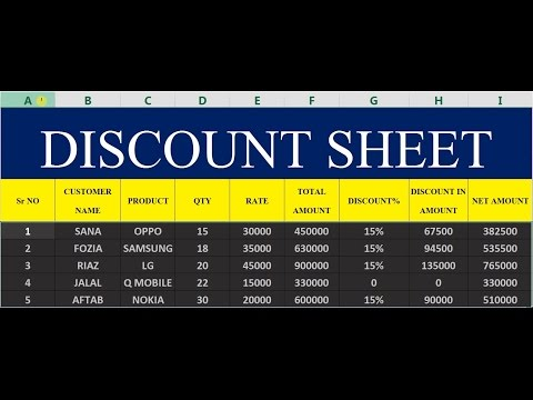 How To Make Discount Sheet In MS Excel # 38