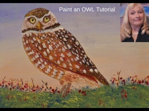 How to Paint an easy OWL with acrylic paint  Lesson 1, Backround and Drawing the owl