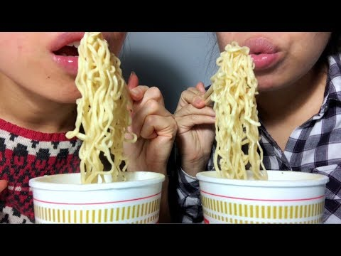 ASMR Potato Chips + Ramen Cup of Noodles SLURPIN' EATING SOUNDS w. My Cousin :) Whispering
