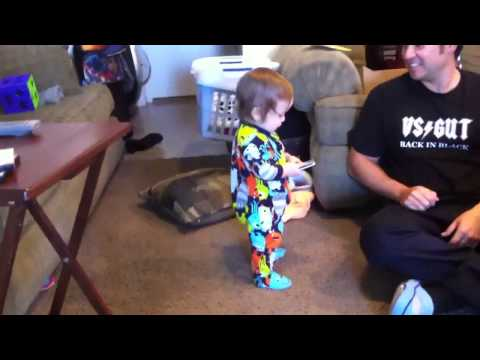 Justin's starting to walk.