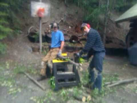 Chainsawing Wood in Alaska