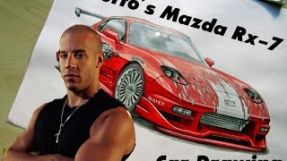 Toretto´s Mazda RX-7 [The Fast and the Furious/Fan Art] Car Drawing by Fast Art