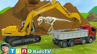 Excavator, Driller & Dump Truck for Kids | Finding Dinosaur Bones