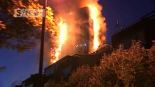Grenfell Tower: Residents wave out of windows for help