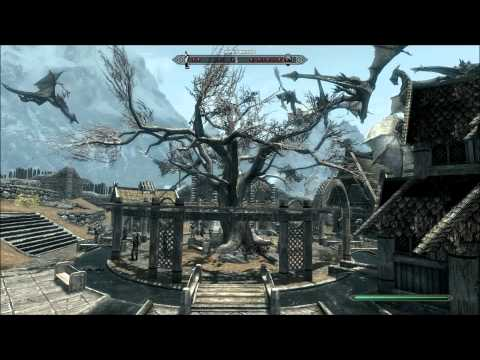 Fun In Skyrim - 35 Dragons Terrorize a Populated Town