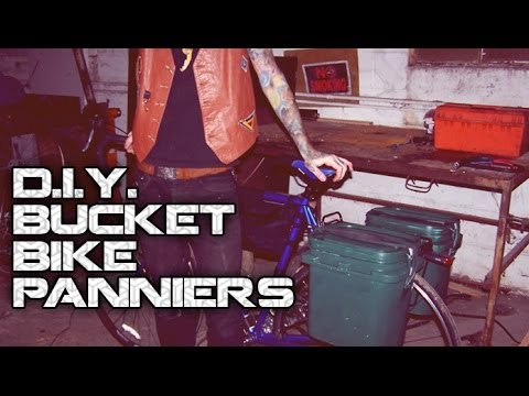 D.I.Y. Recycled Bucket Bike Panniers & Incorporating Used Bike Tubes.