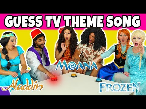 GUESS THE TV THEME SONG CHALLENGE (Aladdin vs Moana vs Frozen Characters)