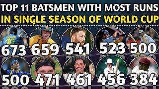 Top 11 Batsmen with Most Runs in Single Season Of World Cup | Most Runs In Single Edition Of WC
