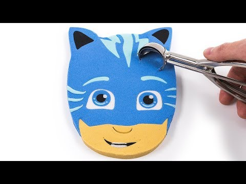 DIY How to Make Kinetic Sand PJ Masks Catboy Face Ice Cream Cake