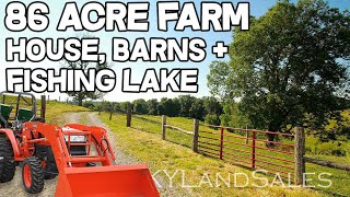 Home and Land for Sale Kentucky 86 acre Farm with fishing lake real estate
