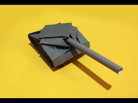 Paper tank. Origami tank (easy 2 minutes)