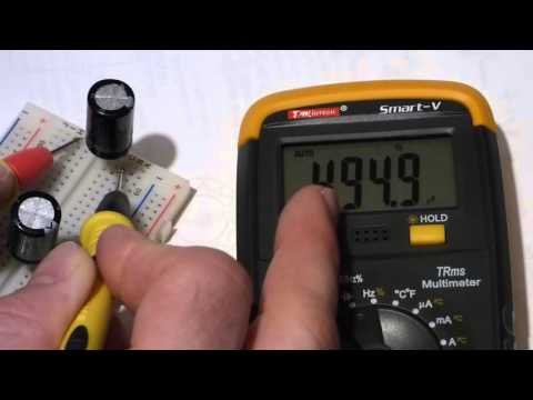 How to measure capacitance of capacitors with a multimeter able to do so. Tutorial lesson.