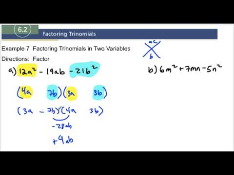 6.2 Example 7 Factoring Trinomials in Two Variables
