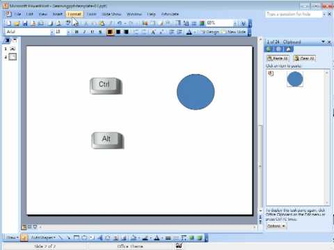 How to use keyboard shortcuts in PowerPoint 2003