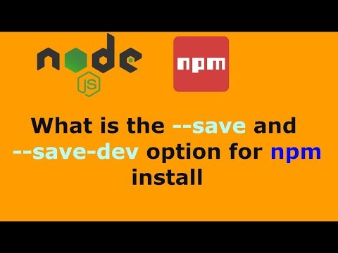 What is the --save and --save-dev option for npm install