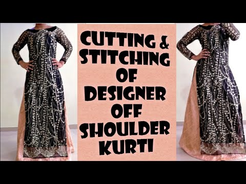Designer Off shoulder kameez/kurti cutting and stitching step by step in hindi|